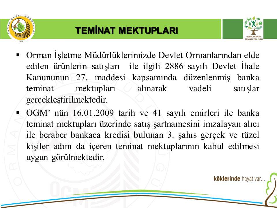 TEMİNAT MEKTUPLARI  Orman İşletme Müdürlüklerimizde Devlet Ormanlarından elde edilen ürünlerin satışları ile ilgili 2886 sayılı Devlet İhale Kanununu