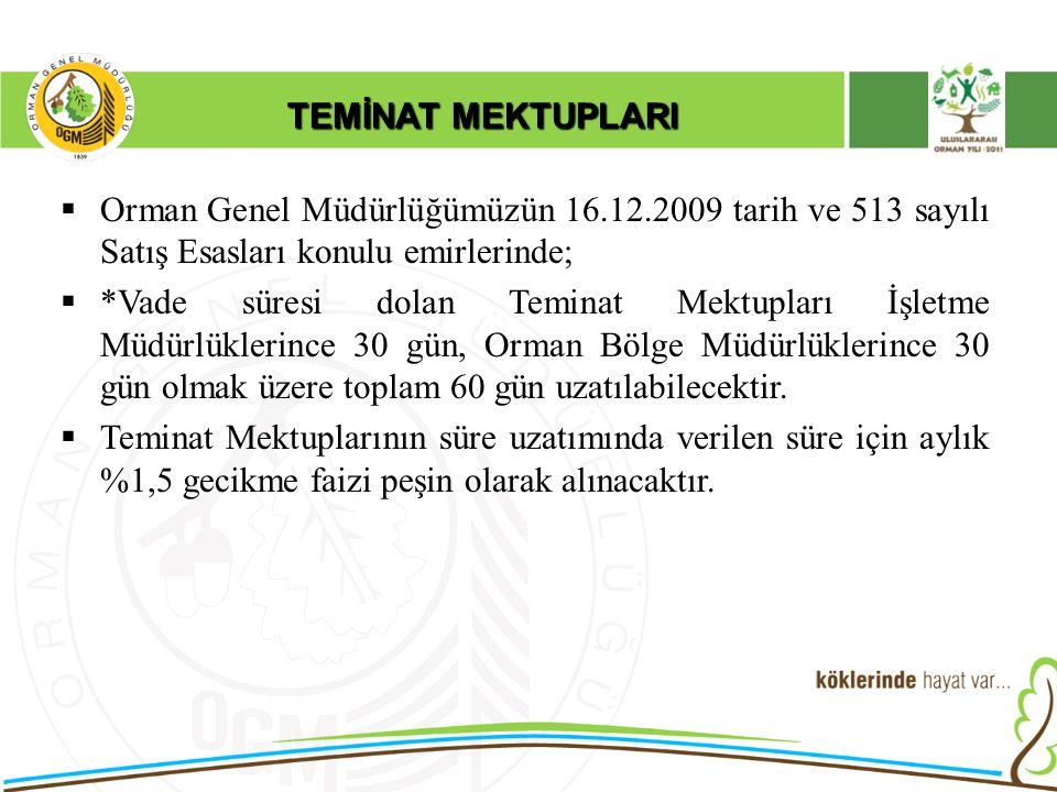 TEMİNAT MEKTUPLARI  Orman Genel Müdürlüğümüzün 16.12.2009 tarih ve 513 sayılı Satış Esasları konulu emirlerinde;  *Vade süresi dolan Teminat Mektupl