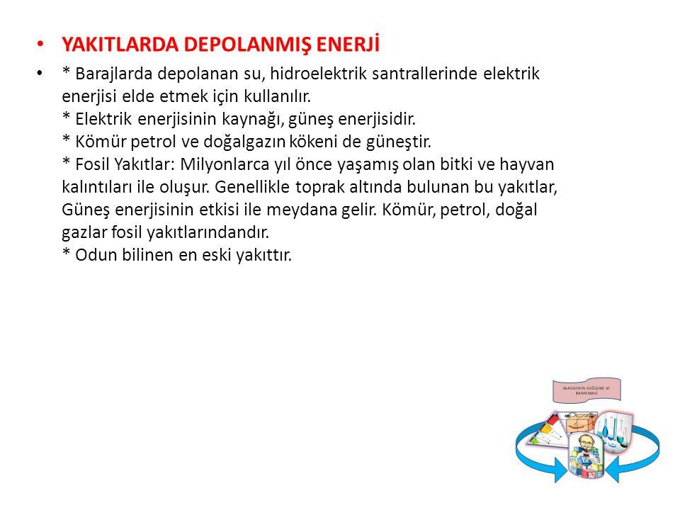YAKITLARDA DEPOLANMIŞ ENERJİ * Barajlarda depolanan su, hidroelektrik santrallerinde elektrik enerjisi elde etmek için kullanılır. * Elektrik enerjisi