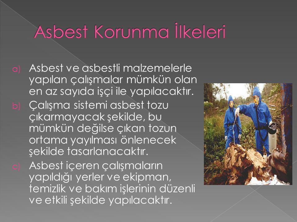 a) Asbest ve asbestli malzemelerle yapılan çalışmalar mümkün olan en az sayıda işçi ile yapılacaktır. b) Çalışma sistemi asbest tozu çıkarmayacak şeki