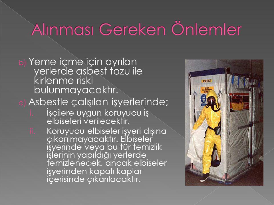 b) Yeme içme için ayrılan yerlerde asbest tozu ile kirlenme riski bulunmayacaktır. c) Asbestle çalışılan işyerlerinde; i. İşçilere uygun koruyucu iş e