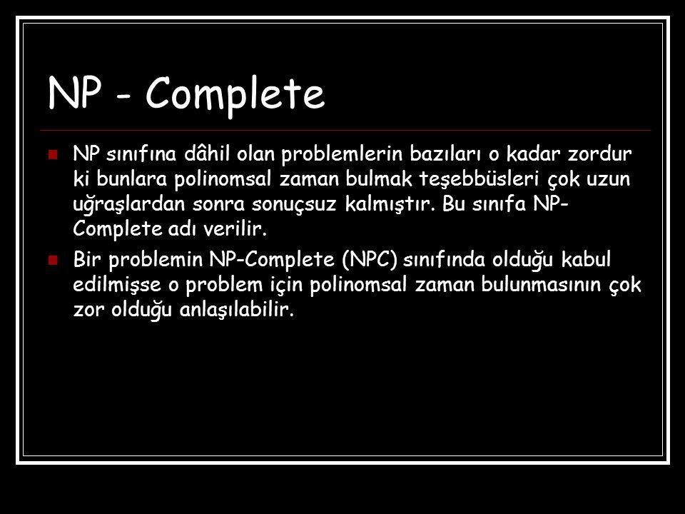 NP - Complete NP sınıfına dâhil olan problemlerin bazıları o kadar zordur ki bunlara polinomsal zaman bulmak teşebbüsleri çok uzun uğraşlardan sonra s