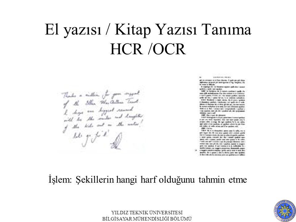 YILDIZ TEKNİK ÜNİVERSİTESİ BİLGİSAYAR MÜHENDİSLİĞİ BÖLÜMÜ El yazısı / Kitap Yazısı Tanıma HCR /OCR İşlem: Şekillerin hangi harf olduğunu tahmin etme