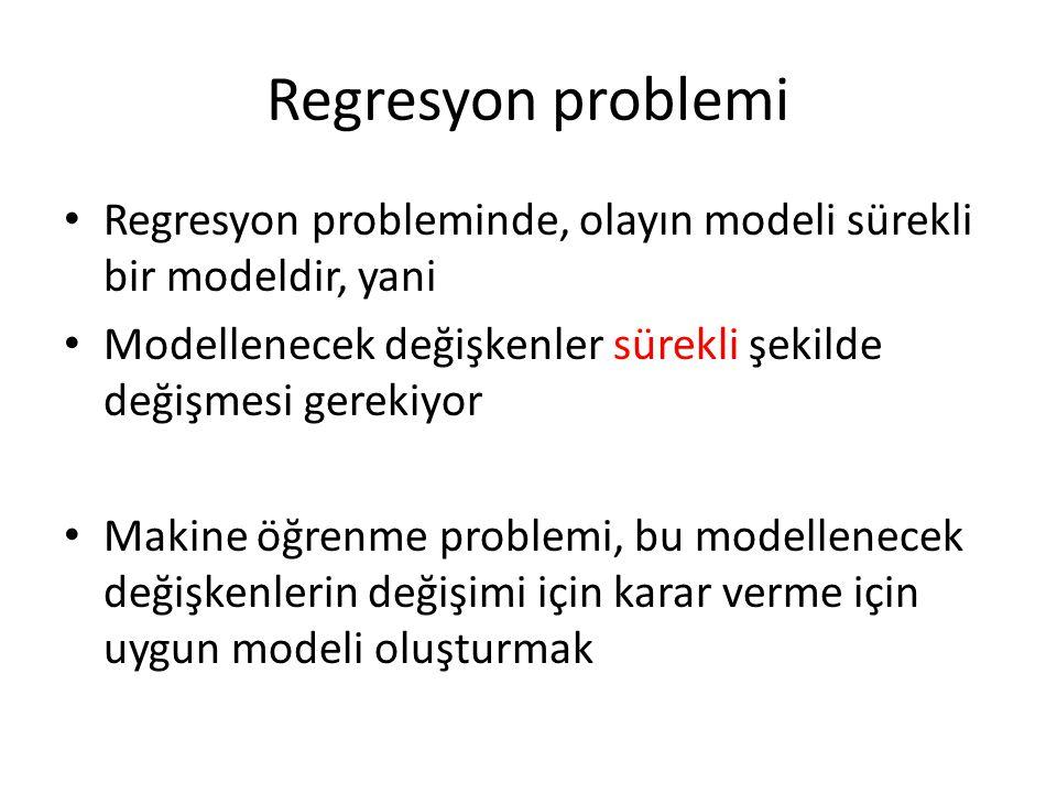 Regresyon problemi Regresyon probleminde, olayın modeli sürekli bir modeldir, yani Modellenecek değişkenler sürekli şekilde değişmesi gerekiyor Makine öğrenme problemi, bu modellenecek değişkenlerin değişimi için karar verme için uygun modeli oluşturmak