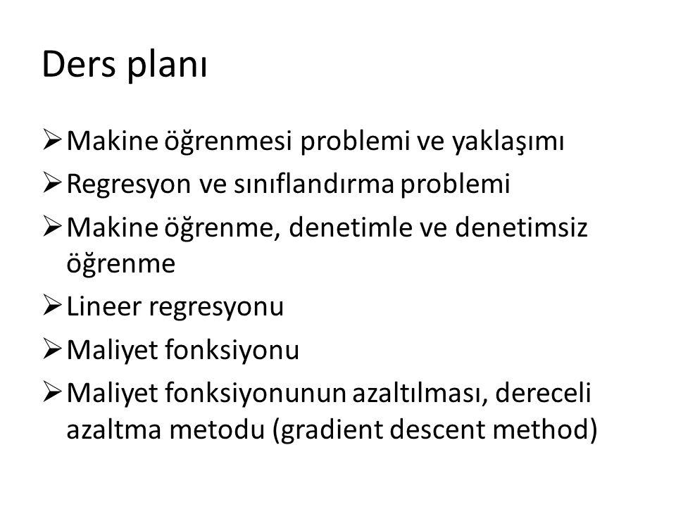 Lineer Regresyonu Örneğin, en basit model/hipotezi, (bu model/hipoteze lineer model/hipotezi denir)