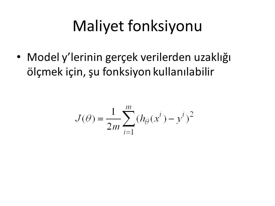 Maliyet fonksiyonu Model y'lerinin gerçek verilerden uzaklığı ölçmek için, şu fonksiyon kullanılabilir