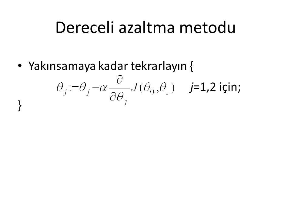 Dereceli azaltma metodu Yakınsamaya kadar tekrarlayın { j=1,2 için; }