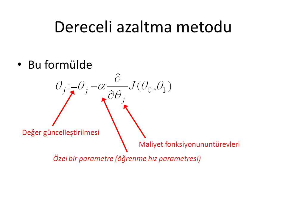 Dereceli azaltma metodu Bu formülde Değer güncelleştirilmesi Maliyet fonksiyonununtürevleri Özel bir parametre (öğrenme hız parametresi)