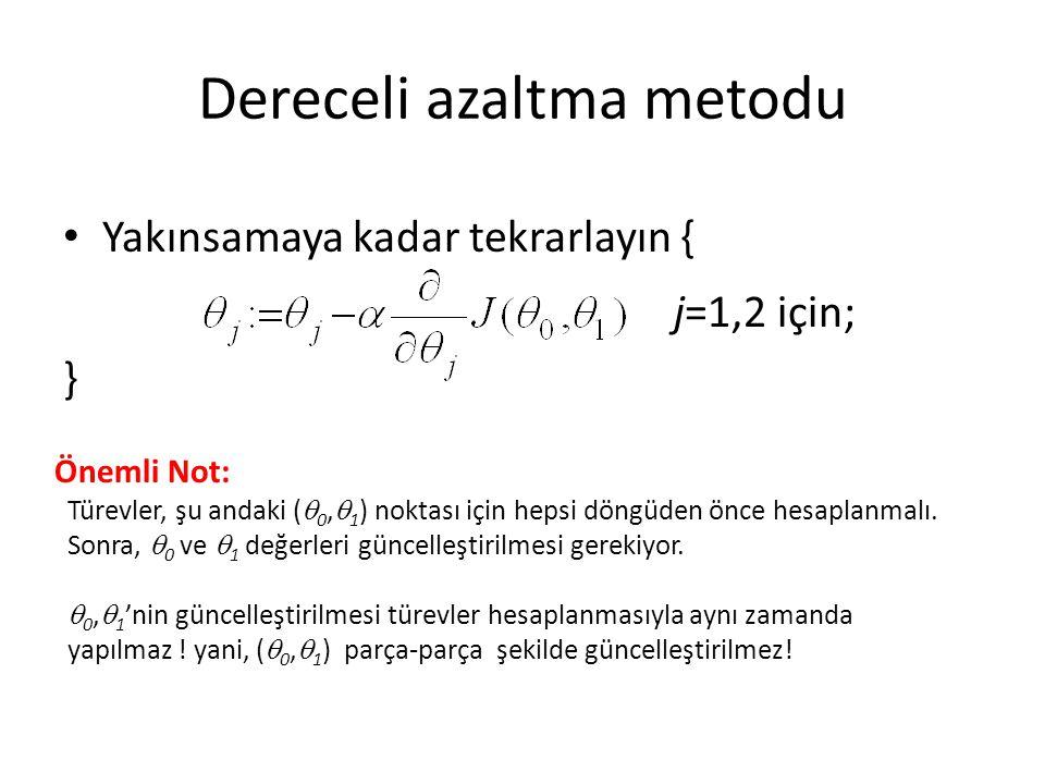 Dereceli azaltma metodu Yakınsamaya kadar tekrarlayın { j=1,2 için; } Önemli Not: Türevler, şu andaki (  0,  1 ) noktası için hepsi döngüden önce hesaplanmalı.