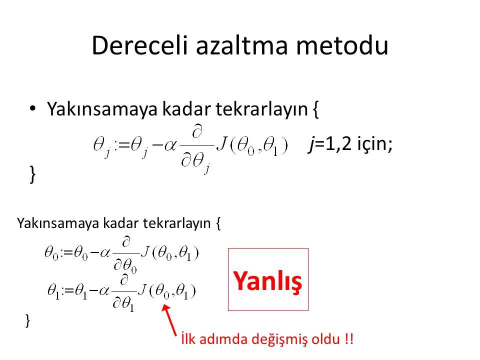 Dereceli azaltma metodu Yakınsamaya kadar tekrarlayın { j=1,2 için; } Yakınsamaya kadar tekrarlayın { } Yanlış İlk adımda değişmiş oldu !!