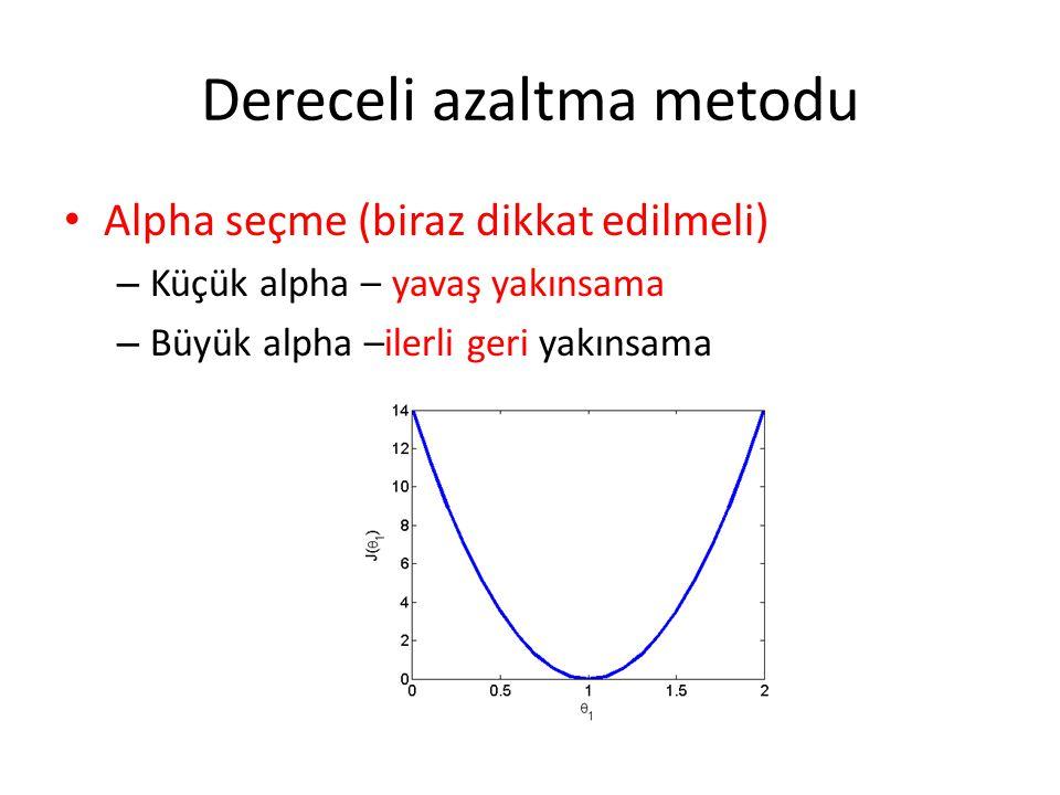 Dereceli azaltma metodu Alpha seçme (biraz dikkat edilmeli) – Küçük alpha – yavaş yakınsama – Büyük alpha –ilerli geri yakınsama