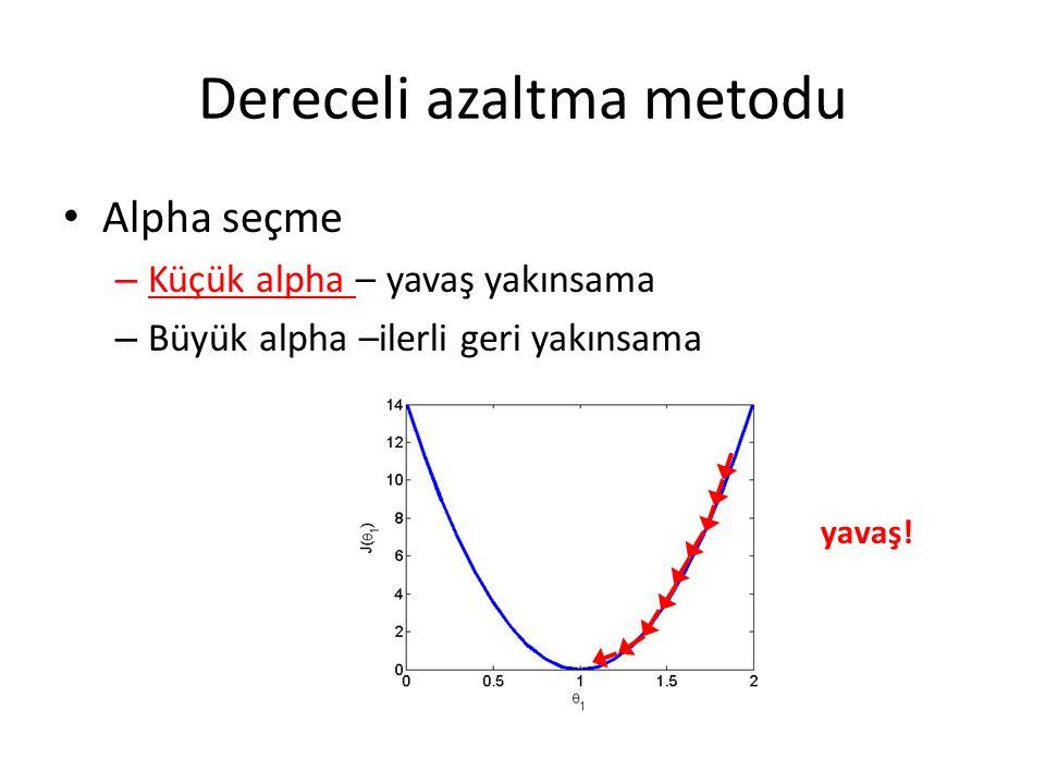 Dereceli azaltma metodu Alpha seçme – Küçük alpha – yavaş yakınsama – Büyük alpha –ilerli geri yakınsama yavaş!