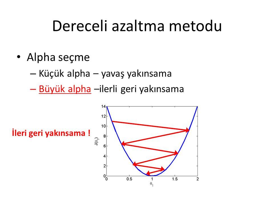Dereceli azaltma metodu Alpha seçme – Küçük alpha – yavaş yakınsama – Büyük alpha –ilerli geri yakınsama İleri geri yakınsama !