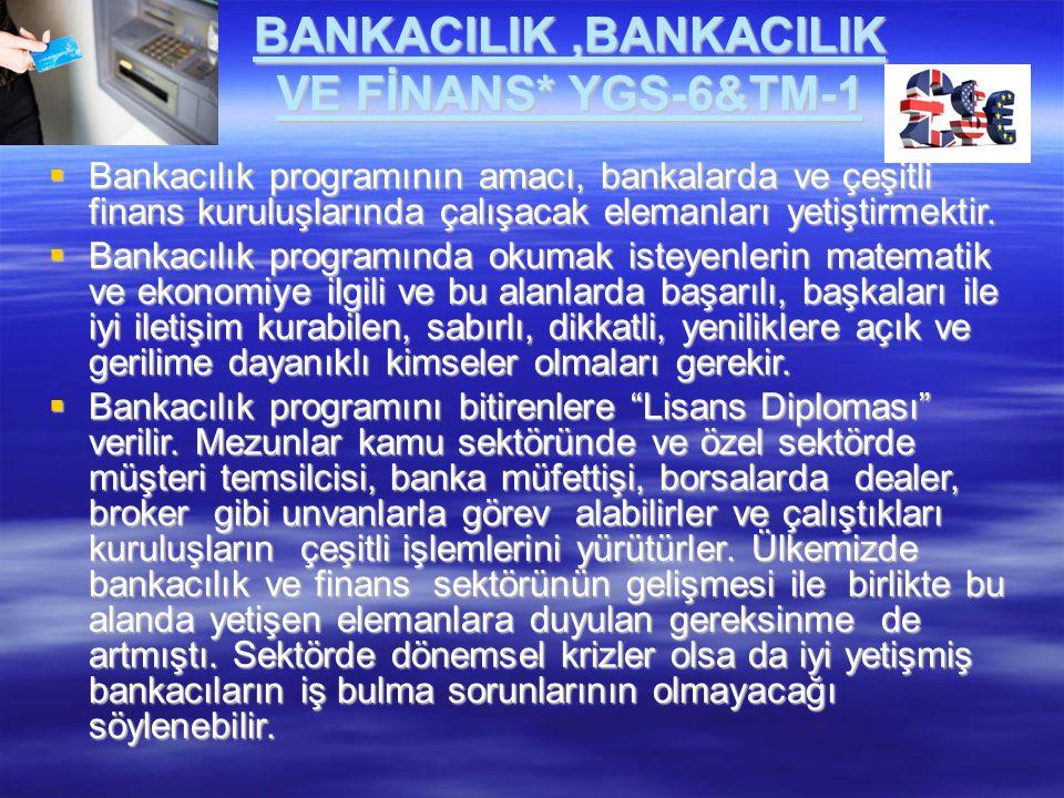 BANKACILIK,BANKACILIK VE FİNANS* YGS-6&TM-1  Bankacılık programının amacı, bankalarda ve çeşitli finans kuruluşlarında çalışacak elemanları yetiştirm