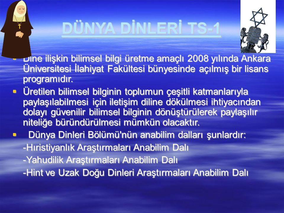 DÜNYA DİNLERİ TS-1  Dine ilişkin bilimsel bilgi üretme amaçlı 2008 yılında Ankara Üniversitesi İlahiyat Fakültesi bünyesinde açılmış bir lisans progr