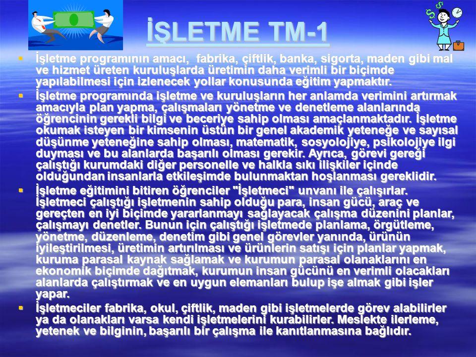 İŞLETME TM-1  İşletme programının amacı, fabrika, çiftlik, banka, sigorta, maden gibi mal ve hizmet üreten kuruluşlarda üretimin daha verimli bir biç