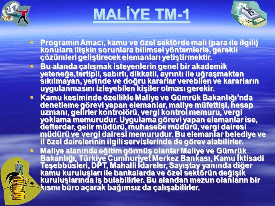 MALİYE TM-1  Programın Amacı, kamu ve özel sektörde mali (para ile ilgili) konulara ilişkin sorunlara bilimsel yöntemlerle, gerekli çözümleri gelişti