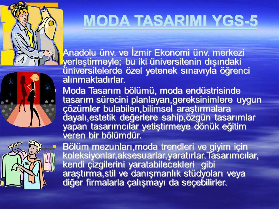 MODA TASARIMI YGS-5  Anadolu ünv. ve İzmir Ekonomi ünv. merkezi yerleştirmeyle; bu iki üniversitenin dışındaki üniversitelerde özel yetenek sınavıyla