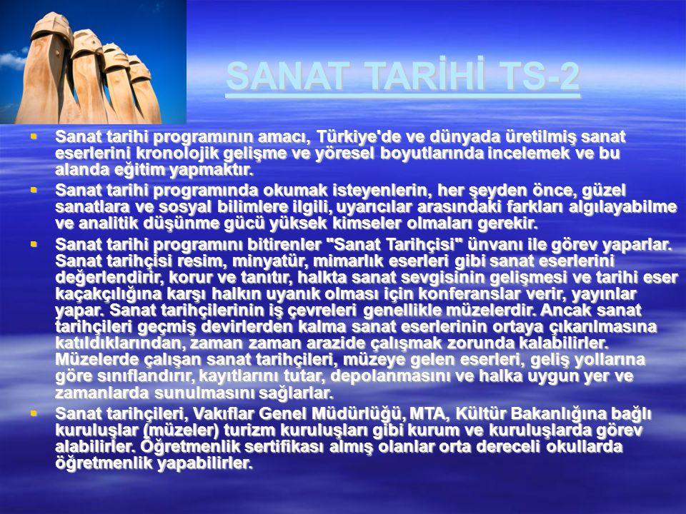 SANAT TARİHİ TS-2  Sanat tarihi programının amacı, Türkiye'de ve dünyada üretilmiş sanat eserlerini kronolojik gelişme ve yöresel boyutlarında incele