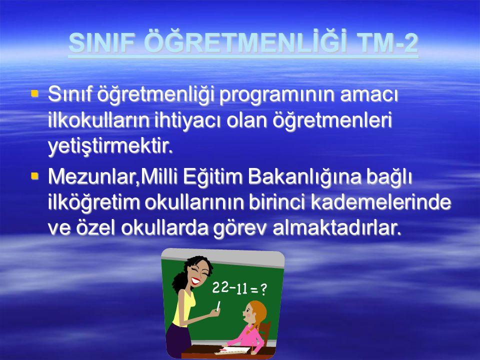SINIF ÖĞRETMENLİĞİ TM-2  Sınıf öğretmenliği programının amacı ilkokulların ihtiyacı olan öğretmenleri yetiştirmektir.  Mezunlar,Milli Eğitim Bakanlı