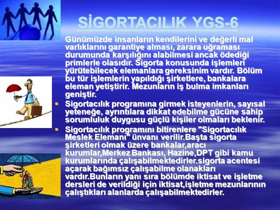 SİGORTACILIK YGS-6  Günümüzde insanların kendilerini ve değerli mal varlıklarını garantiye alması, zarara uğraması durumunda karşılığını alabilmesi a