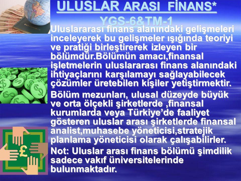 ULUSLAR ARASI FİNANS* YGS-6&TM-1  Uluslararası finans alanındaki gelişmeleri inceleyerek bu gelişmeler ışığında teoriyi ve pratiği birleştirerek izle