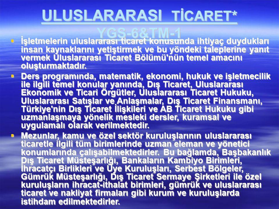 ULUSLARARASI TİCARET* YGS-6&TM-1  İşletmelerin uluslararası ticaret konusunda ihtiyaç duydukları insan kaynaklarını yetiştirmek ve bu yöndeki taleple