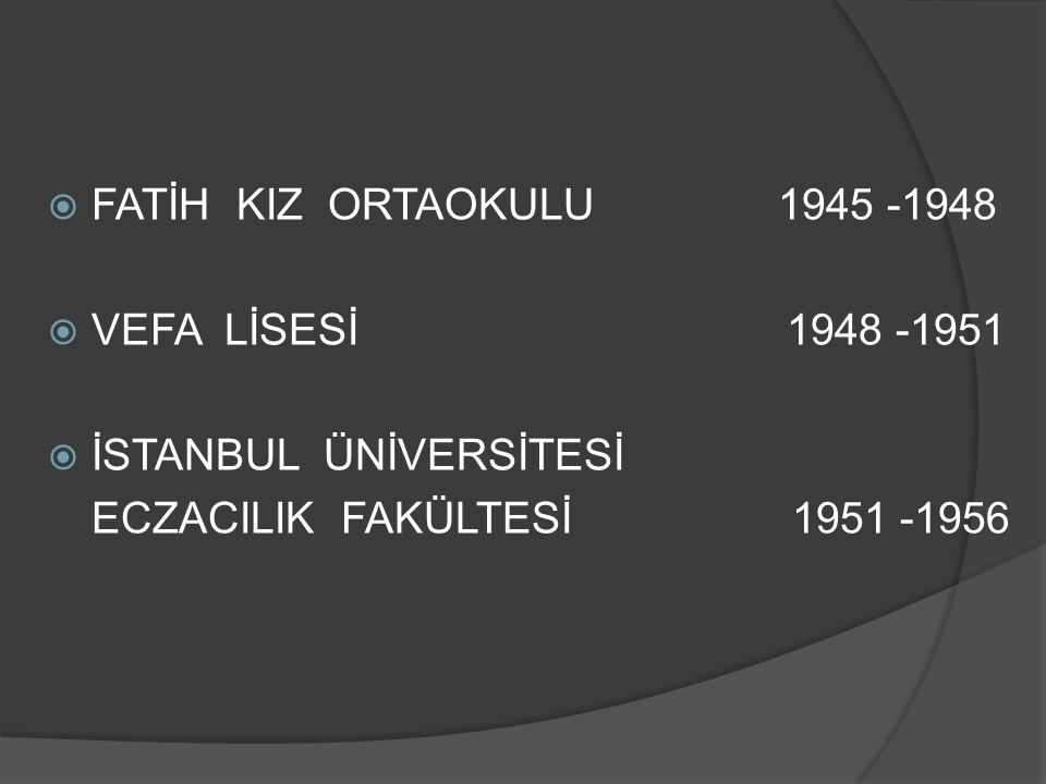 İSTANBUL ÜNİVERSİTESİ ECZACILIK FAKÜLTESİ 1956 -1982