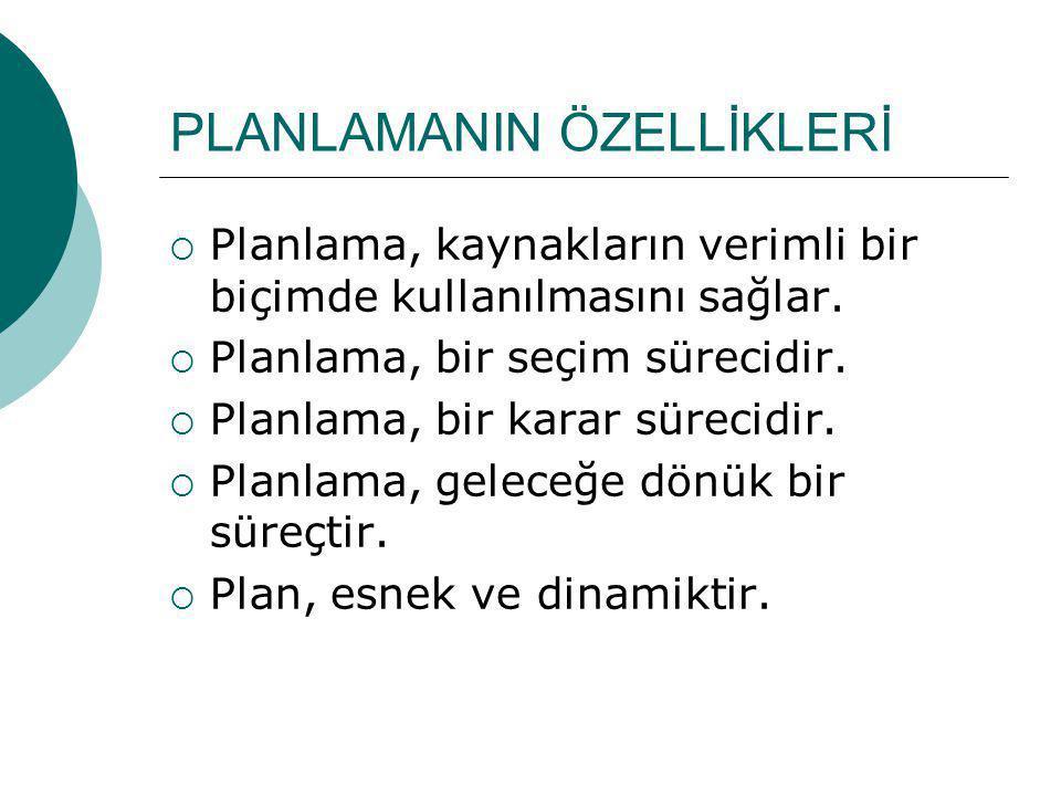 PLANLAMANIN ÖZELLİKLERİ  Planlama, kaynakların verimli bir biçimde kullanılmasını sağlar.  Planlama, bir seçim sürecidir.  Planlama, bir karar süre