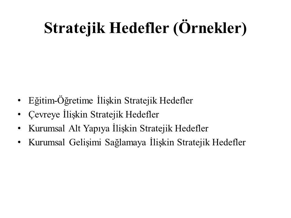 Stratejik Hedefler (Örnekler) Eğitim-Öğretime İlişkin Stratejik Hedefler Çevreye İlişkin Stratejik Hedefler Kurumsal Alt Yapıya İlişkin Stratejik Hede