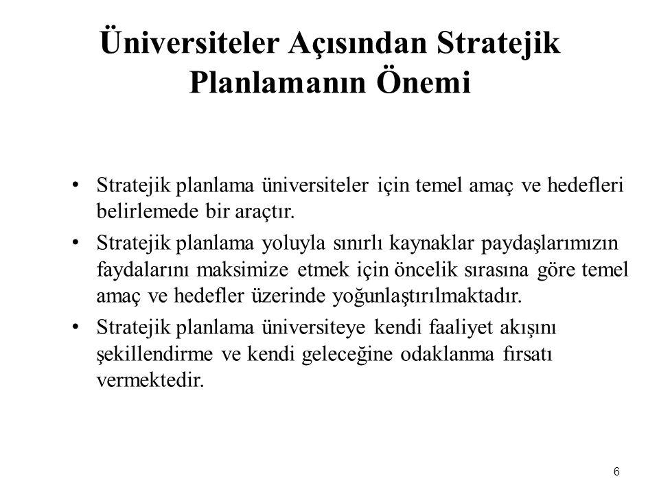 Üniversiteler Açısından Stratejik Planlamanın Önemi Stratejik planlama üniversiteler için temel amaç ve hedefleri belirlemede bir araçtır. Stratejik p
