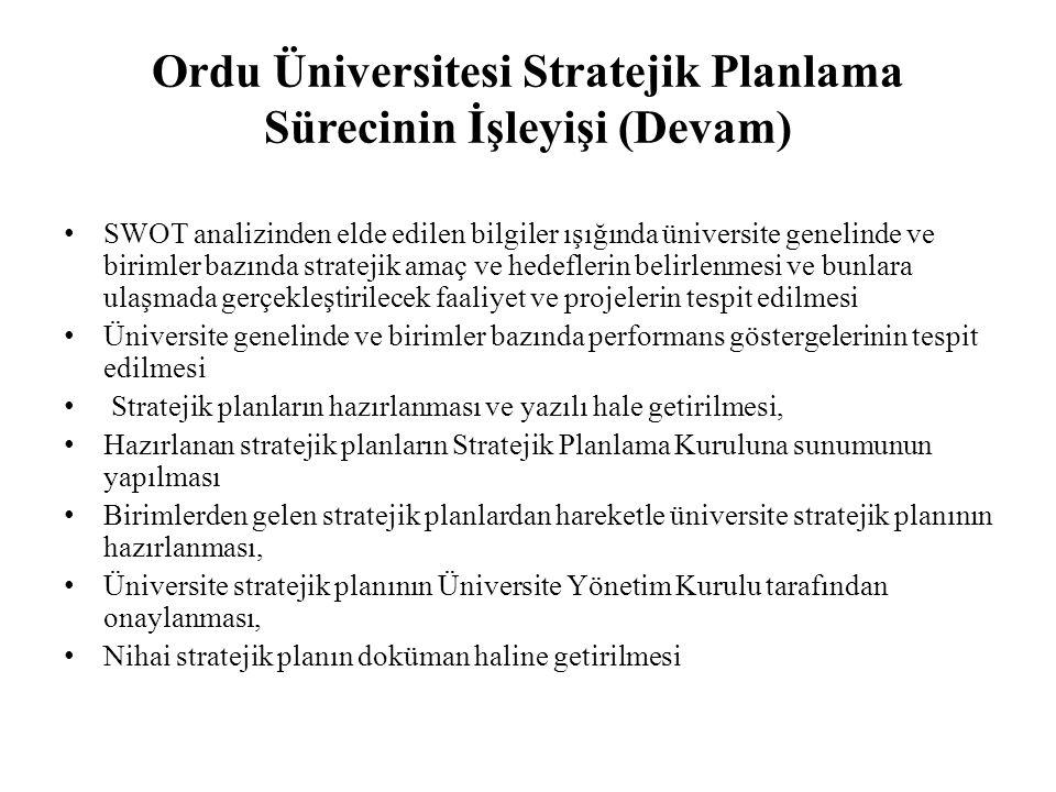 Ordu Üniversitesi Stratejik Planlama Sürecinin İşleyişi (Devam) SWOT analizinden elde edilen bilgiler ışığında üniversite genelinde ve birimler bazınd