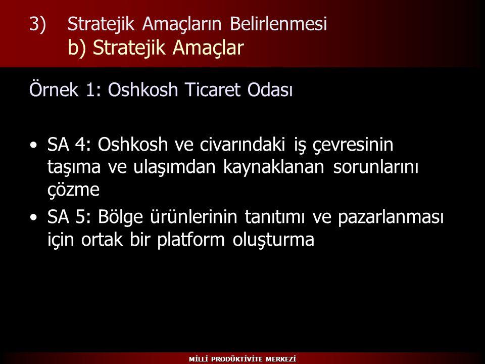 MİLLİ PRODÜKTİVİTE MERKEZİ 3)Stratejik Amaçların Belirlenmesi b) Stratejik Amaçlar Örnek 1: Oshkosh Ticaret Odası SA 4: Oshkosh ve civarındaki iş çevr