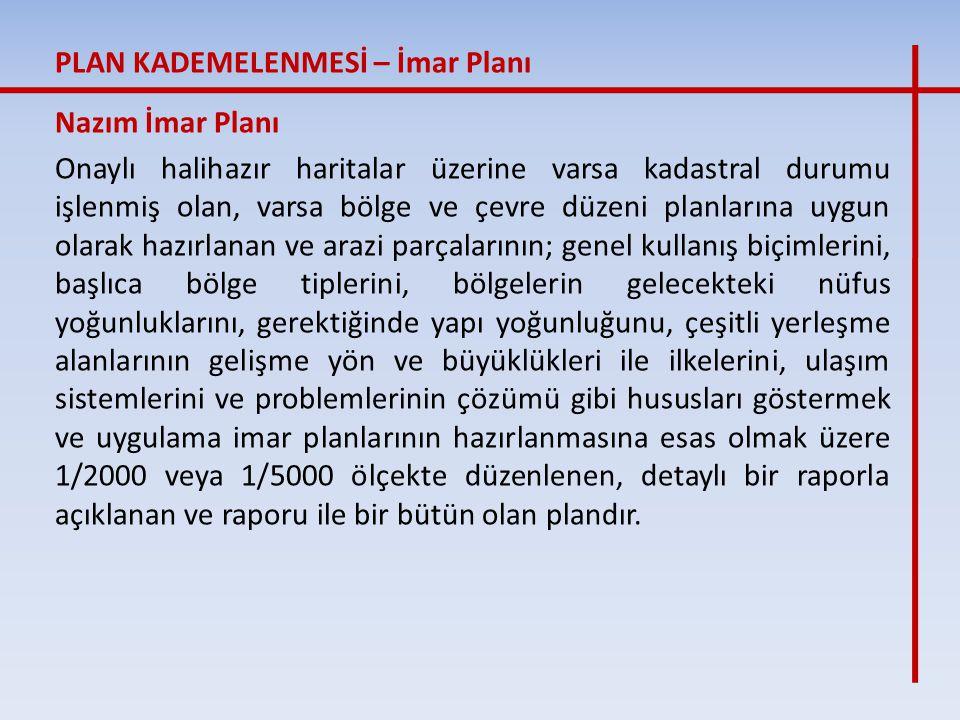 Nazım İmar Planı Onaylı halihazır haritalar üzerine varsa kadastral durumu işlenmiş olan, varsa bölge ve çevre düzeni planlarına uygun olarak hazırlan