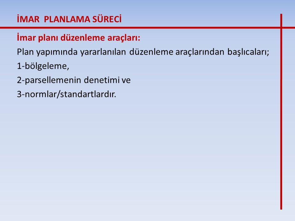 İmar planı düzenleme araçları: Plan yapımında yararlanılan düzenleme araçlarından başlıcaları; 1-bölgeleme, 2-parsellemenin denetimi ve 3-normlar/stan