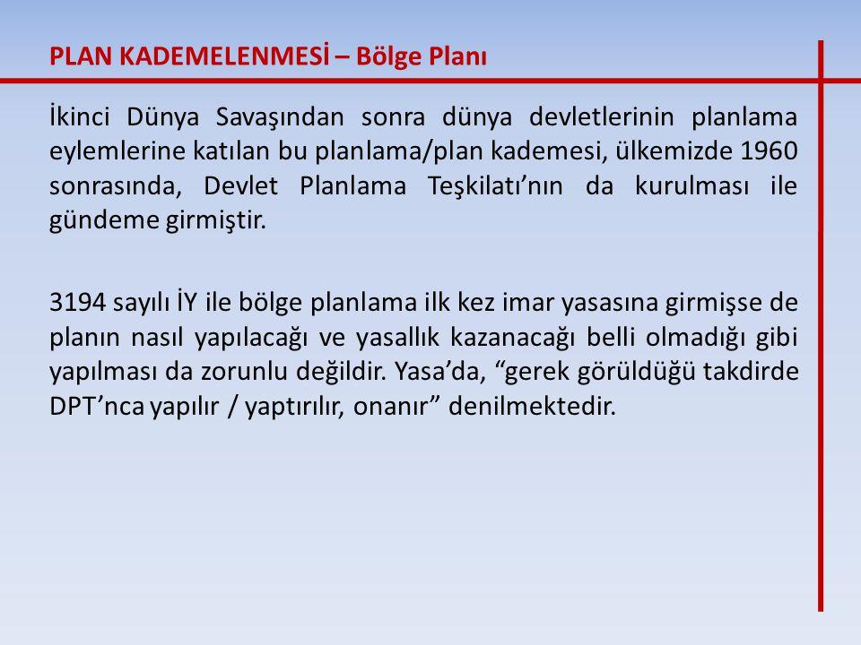 İkinci Dünya Savaşından sonra dünya devletlerinin planlama eylemlerine katılan bu planlama/plan kademesi, ülkemizde 1960 sonrasında, Devlet Planlama T