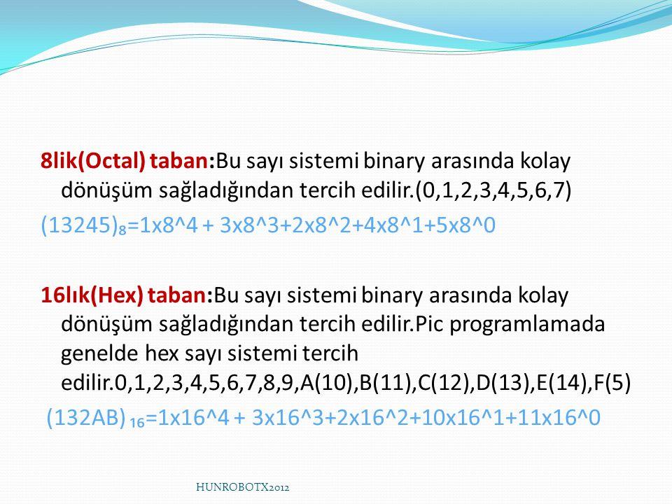 8lik(Octal) taban:Bu sayı sistemi binary arasında kolay dönüşüm sağladığından tercih edilir.(0,1,2,3,4,5,6,7) (13245)₈=1x8^4 + 3x8^3+2x8^2+4x8^1+5x8^0 16lık(Hex) taban:Bu sayı sistemi binary arasında kolay dönüşüm sağladığından tercih edilir.Pic programlamada genelde hex sayı sistemi tercih edilir.0,1,2,3,4,5,6,7,8,9,A(10),B(11),C(12),D(13),E(14),F(5) (132AB) ₁₆=1x16^4 + 3x16^3+2x16^2+10x16^1+11x16^0 HUNROBOTX2012