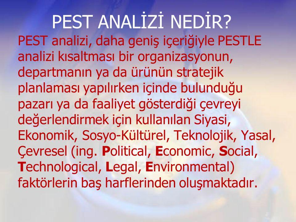 PEST ANALİZİ NEDİR? PEST analizi, daha geniş içeriğiyle PESTLE analizi kısaltması bir organizasyonun, departmanın ya da ürünün stratejik planlaması ya
