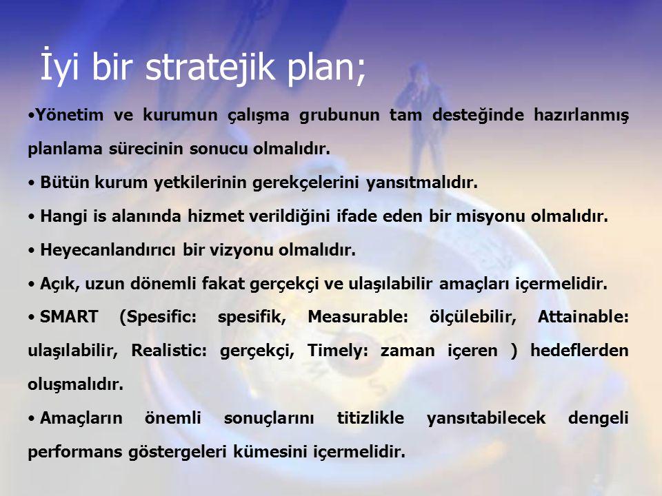 İyi bir stratejik plan; Yönetim ve kurumun çalışma grubunun tam desteğinde hazırlanmış planlama sürecinin sonucu olmalıdır. Bütün kurum yetkilerinin g