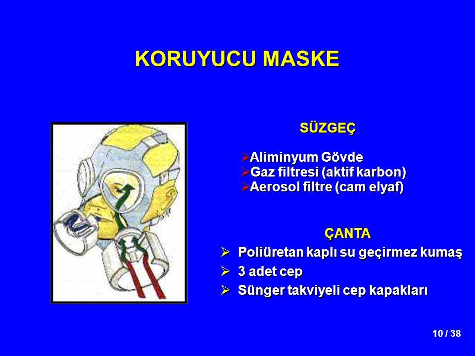 10 / 38 KORUYUCU MASKE SÜZGEÇ  Aliminyum Gövde  Gaz filtresi (aktif karbon)  Aerosol filtre (cam elyaf) ÇANTA  Poliüretan kaplı su geçirmez kumaş