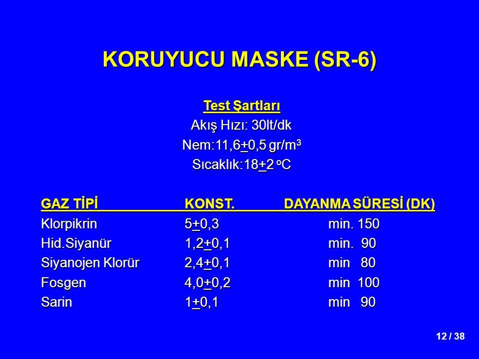 12 / 38 KORUYUCU MASKE (SR-6) Test Şartları Akış Hızı: 30lt/dk Nem:11,6+0,5 gr/m 3 Sıcaklık:18+2 o C GAZ TİPİKONST. DAYANMA SÜRESİ (DK) Klorpikrin5+0,