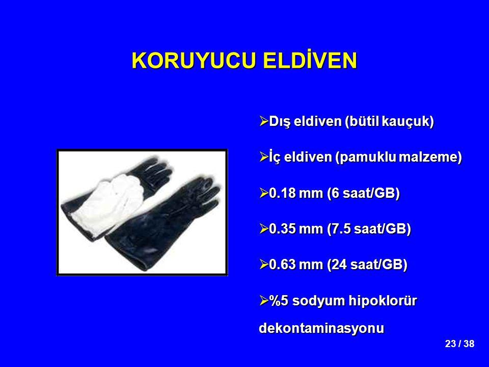 23 / 38 KORUYUCU ELDİVEN  Dış eldiven (bütil kauçuk)  İç eldiven (pamuklu malzeme)  0.18 mm (6 saat/GB)  0.35 mm (7.5 saat/GB)  0.63 mm (24 saat/