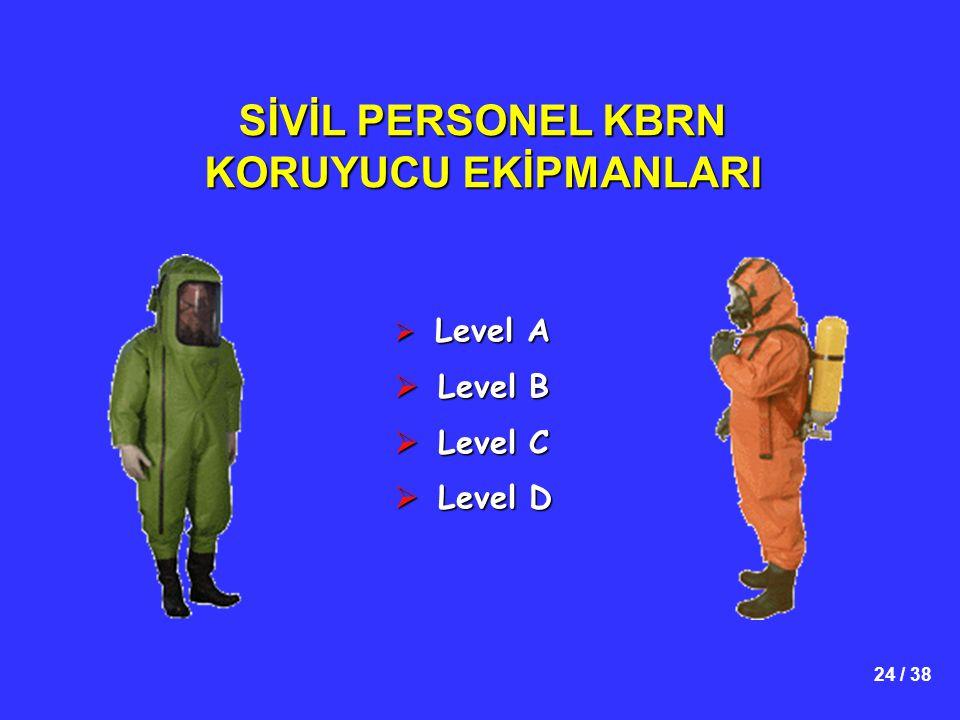24 / 38 SİVİL PERSONEL KBRN KORUYUCU EKİPMANLARI  Level A  Level B  Level C  Level D