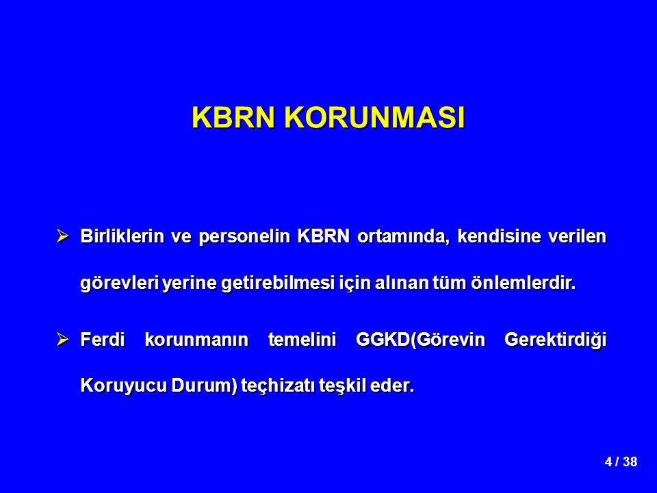 4 / 38 KBRN KORUNMASI  Birliklerin ve personelin KBRN ortamında, kendisine verilen görevleri yerine getirebilmesi için alınan tüm önlemlerdir.  Ferd