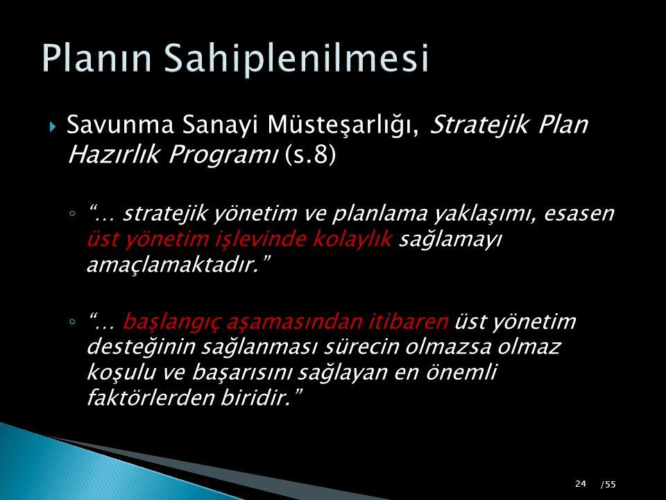 """ Savunma Sanayi Müsteşarlığı, Stratejik Plan Hazırlık Programı (s.8) ◦ """"… stratejik yönetim ve planlama yaklaşımı, esasen üst yönetim işlevinde kolay"""