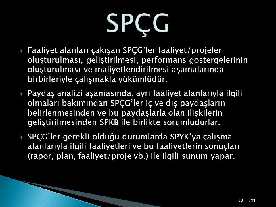  Faaliyet alanları çakışan SPÇG'ler faaliyet/projeler oluşturulması, geliştirilmesi, performans göstergelerinin oluşturulması ve maliyetlendirilmesi