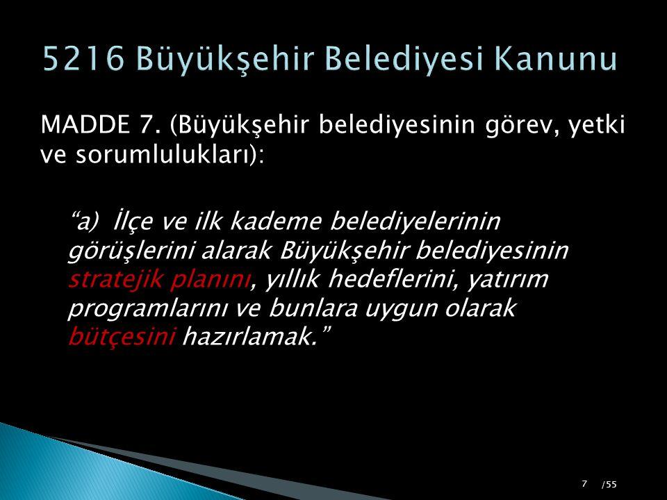 """MADDE 7. (Büyükşehir belediyesinin görev, yetki ve sorumlulukları): """"a) İlçe ve ilk kademe belediyelerinin görüşlerini alarak Büyükşehir belediyesinin"""