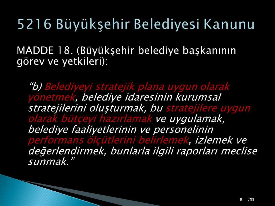 """MADDE 18. (Büyükşehir belediye başkanının görev ve yetkileri): """"b) Belediyeyi stratejik plana uygun olarak yönetmek, belediye idaresinin kurumsal stra"""