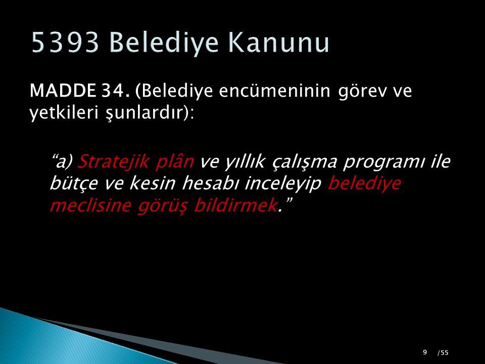 """MADDE 34. (Belediye encümeninin görev ve yetkileri şunlardır): """"a) Stratejik plân ve yıllık çalışma programı ile bütçe ve kesin hesabı inceleyip beled"""