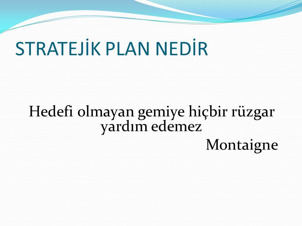 STRATEJİK PLAN NEDİR Hedefi olmayan gemiye hiçbir rüzgar yardım edemez Montaigne